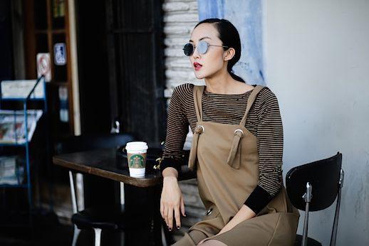 Le Fashion Blog Striped Sweater Khaki Dress Round Sunglasses Via The Chriselle Factor