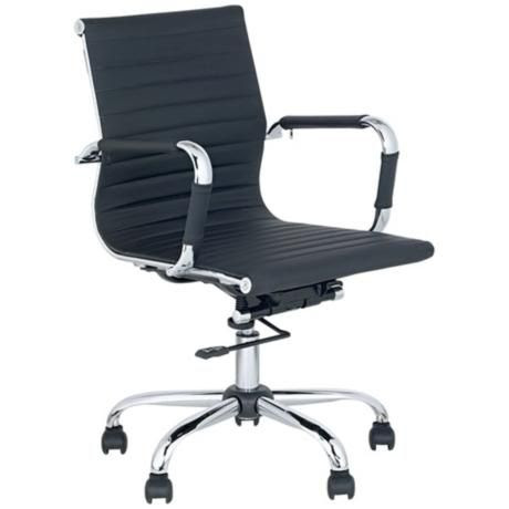 Black Leather Low Back Swivel Office Chair