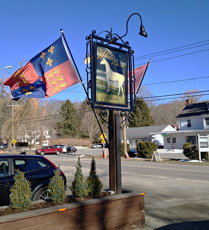 White Horse Country Pub & Restaurant Sign on Route 202 in Marbledale aka New Preston