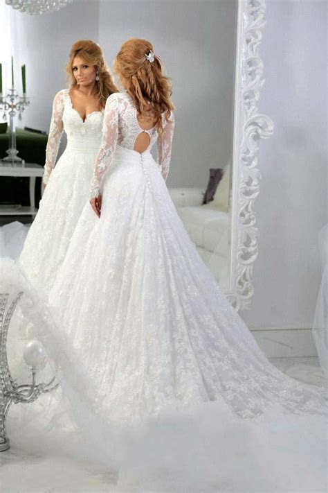 Lace Long Sleeves A line Wedding Dresses 2019 Hollow Back