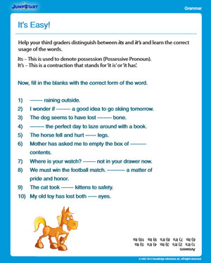 It S Easy Free Grammar Worksheet For 3rd Grade Jumpstart
