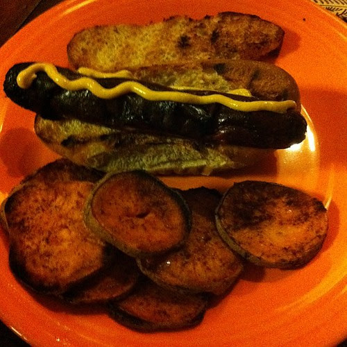Buffalo Dogs with Sweet Potato Fries #badfoodphotography