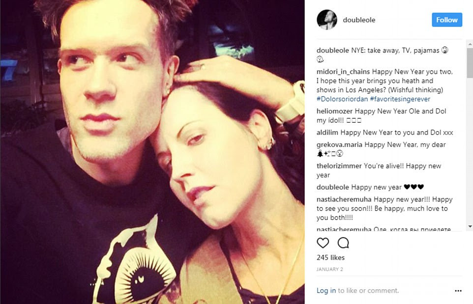 Dolores O'Riordan was pictured on a night in with her boyfriend OleKoretsky less than two weeks before her death yesterday