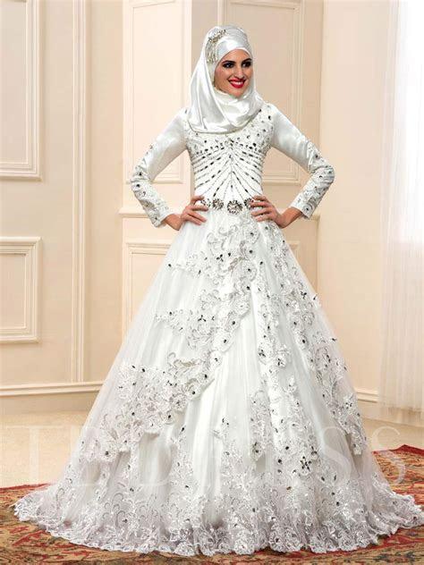 Appliques Sequins Beading Muslim Wedding Dress   Tbdress.com