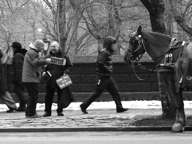 Repent guy meets Horse Carriage guy