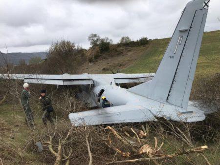 El C-295 del Ala 35 ha terminado cayendo en una vaguada al final de la pista de Santa Cilia de 850 metros de longitud.