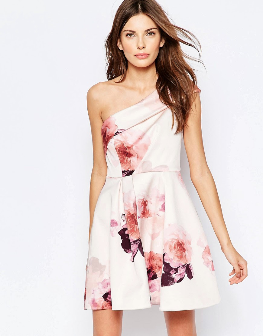 Image 1 of Keepsake One Shoulder Floral Print Skater Dress