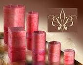 "Handmade Aromatherapy Pink Tuberose Pillar Wax Candle 3x3.5"" Highly Fragrant"