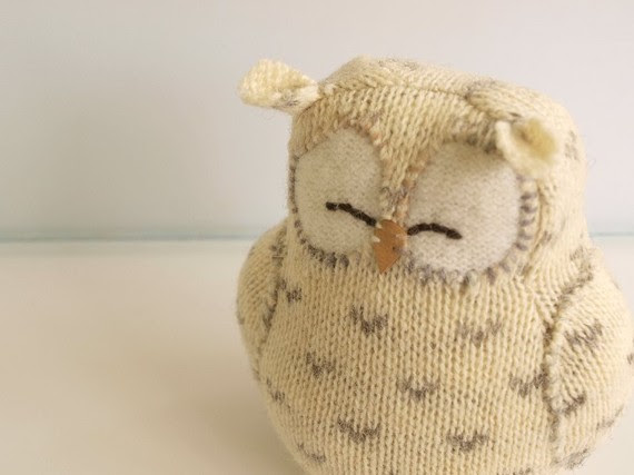 upcycled snowy knitted owl