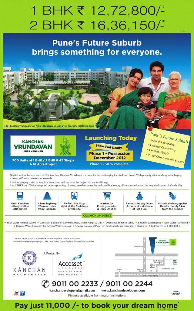 English Launch Ad of Kanchan Vrundavan, 1 BHK & 2 BHK Flats at Koregaon Mul, near Uruli Kanchan Pune 412202