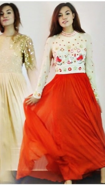 Red and cream evening dress