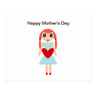 Happy Mother's day Girl with Heart