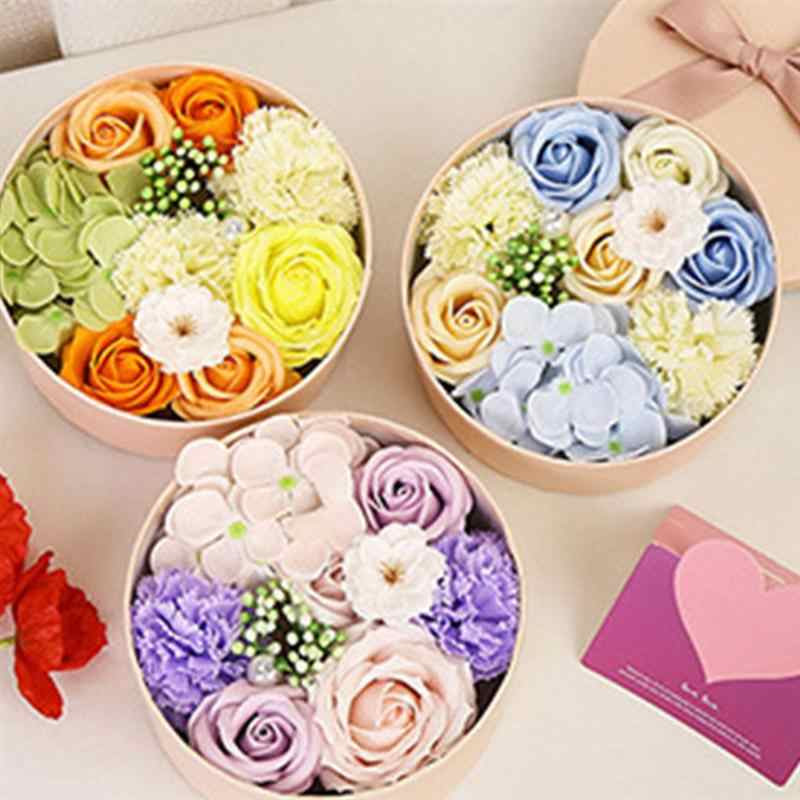 Delicate Soap Flower Small Round Box Unique Soap Bouquet Flower Arrangement Gift Box Valentine S Day Christmas Gift Artificial Dried Flowers Aliexpress
