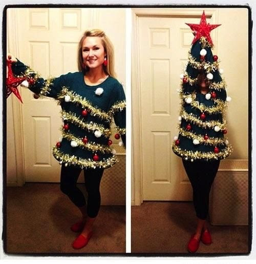 The transforming ugly Christmas sweater that turns into a Christmas tree.