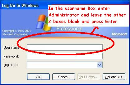 In user name, type 'Administrator' and leave password blank.