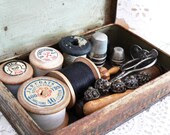 Antique Sewing Kit In A Tin Box