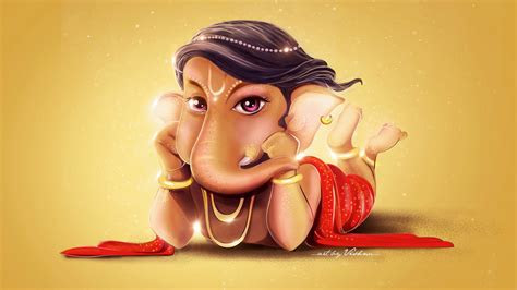 wallpaper lord ganesha cute digital art hd