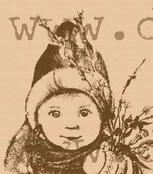 Girl with pussywillow and flowers rubber stamp