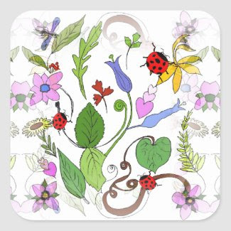 Floral Design on Stickers