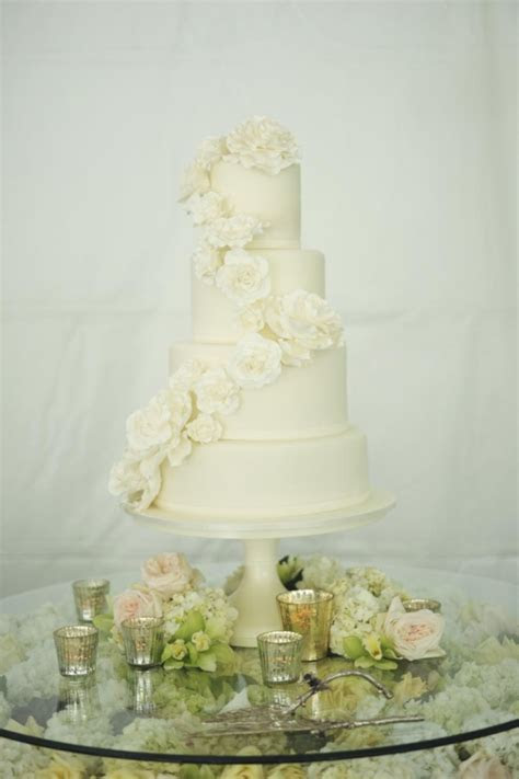 Classic Wedding Cake With Cascading Flowers   Elizabeth