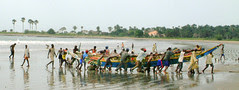 Landing a fishing boat in The Gambia