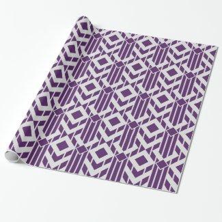 Fancy Purple & Grey Stripes and Diamonds Gift Wrap