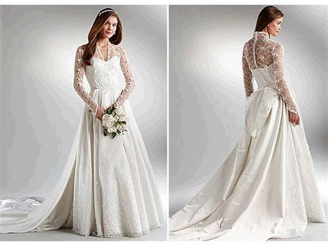 Ivory ball gown wedding dress with long, lace sleeves