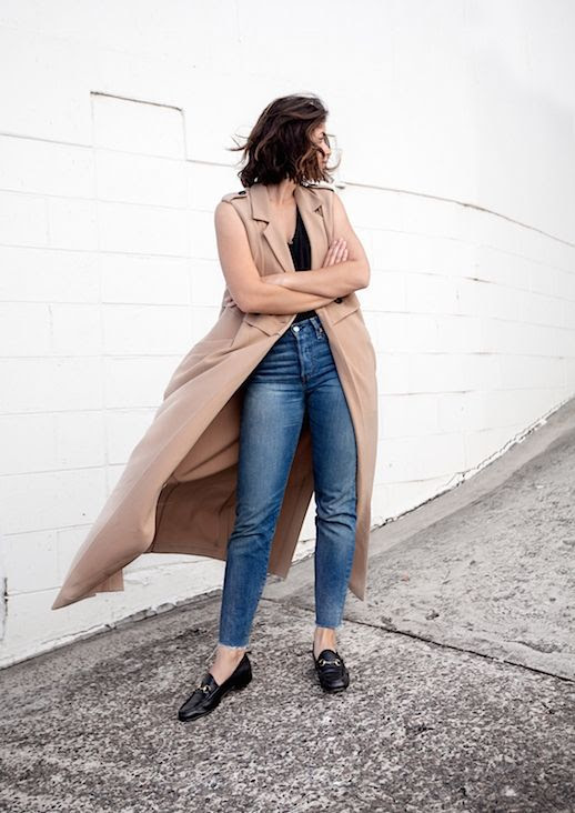 Le Fashion Blog Sleeveless Coat Black Tee Shirt Straight Leg Jeans Gucci Loafers Via Harper And Harley