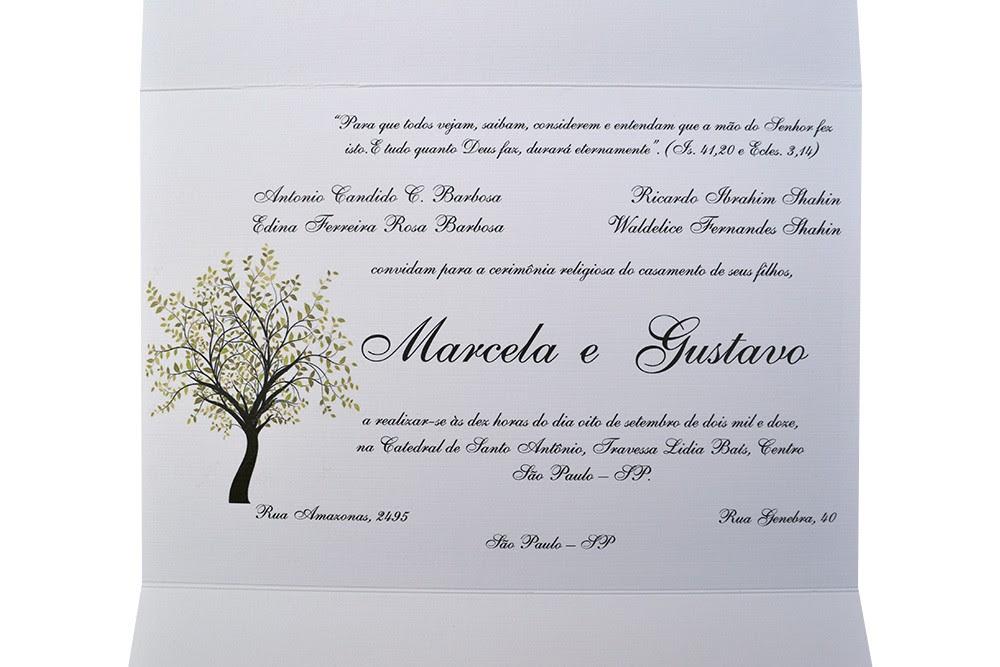 Convites De Casamento Arvore Impressa Papel Convite