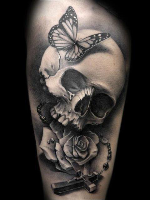 Butterfly Skull Cross Rose Tattoo Design Of Tattoosdesign Of Tattoos