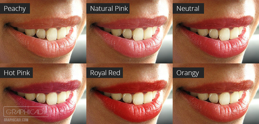 6 Premade colors for lips and blush