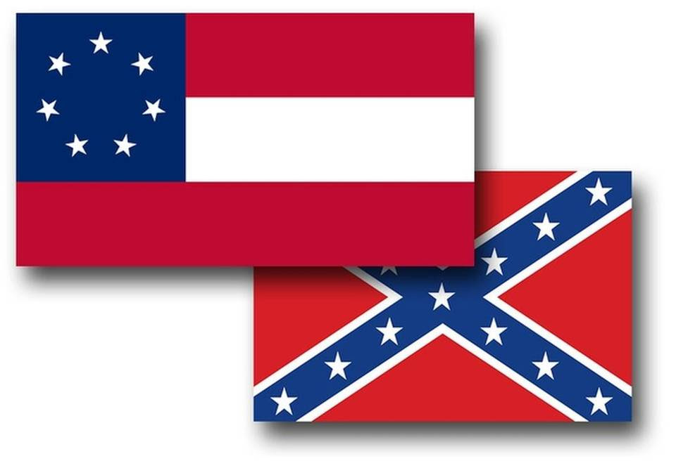 "In the wake of the June 17, 2015, Emanuel AME Church shootings in Charleston, state and other institutions are distancing themselves from the familiar ""Confederate flag"" often used as a symbol of the Confederacy (bottom image), although technically that actually was the battle flag of the Army of Northern Virginia. The top image shows the first national flag of the Confederacy. Because of its similarity to the Union flag, it was updated twice, each instance incorporating the Northern Virginia flag in the upper left corner in place of the circle of stars."