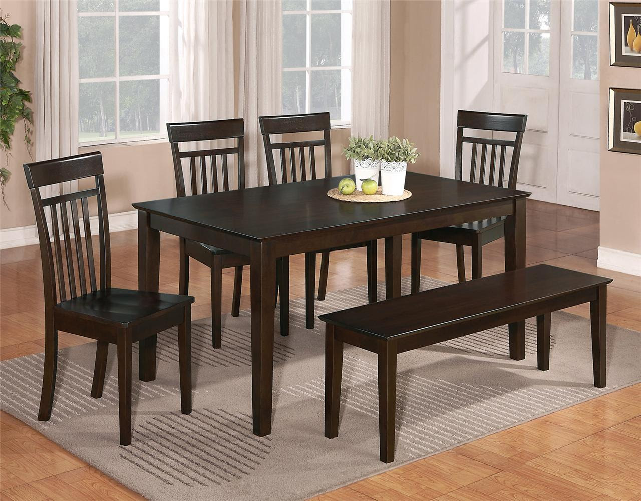 6 PC DINETTE KITCHEN DINING ROOM SET TABLE w\/4 WOOD CHAIR and 1 BENCH CAPPUCCINO  eBay