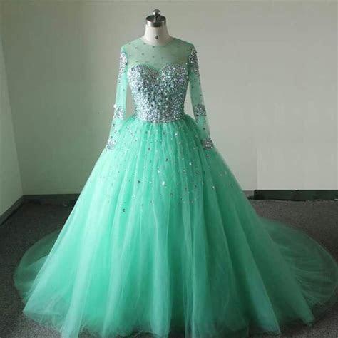 Mint Green Wedding Dresses 2017 Long Sleeves Wedding Gowns