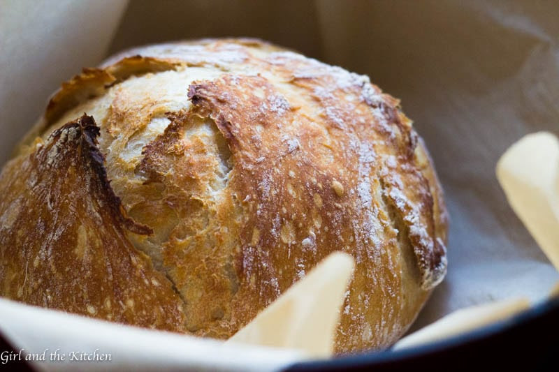 Seriously Crispy No Knead Bread - Girl and the Kitchen