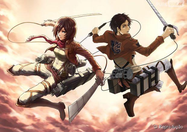 """Mikasa e Eren, os protagonistas de """"Attack On Titan"""", vestidos como membros do Esquadrão contra Titãs"""