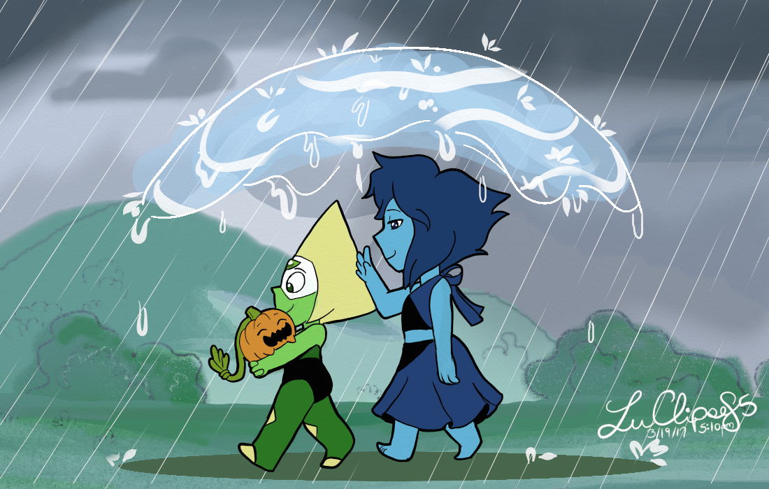 """""""Sunday Stroll"""" My sketch """"Rainy Stroll"""" in color. Pretty much used this piece to experiment with techniques and figure out how to do a SU background (or at least try) (My computer kept crashing on me..."""