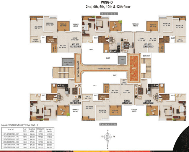 MiCassa Kesnand Wagholi - D Wing Even Floor 2 BHK Flats 6 units per floor - 825 to 858 Built-up + 117 Terrace for Rs. 40.69 to 42.12 Lakhs (approx) up to 8th Floor