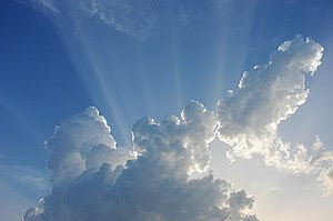 Crepuscular rays in the clouds in Plano, Texas