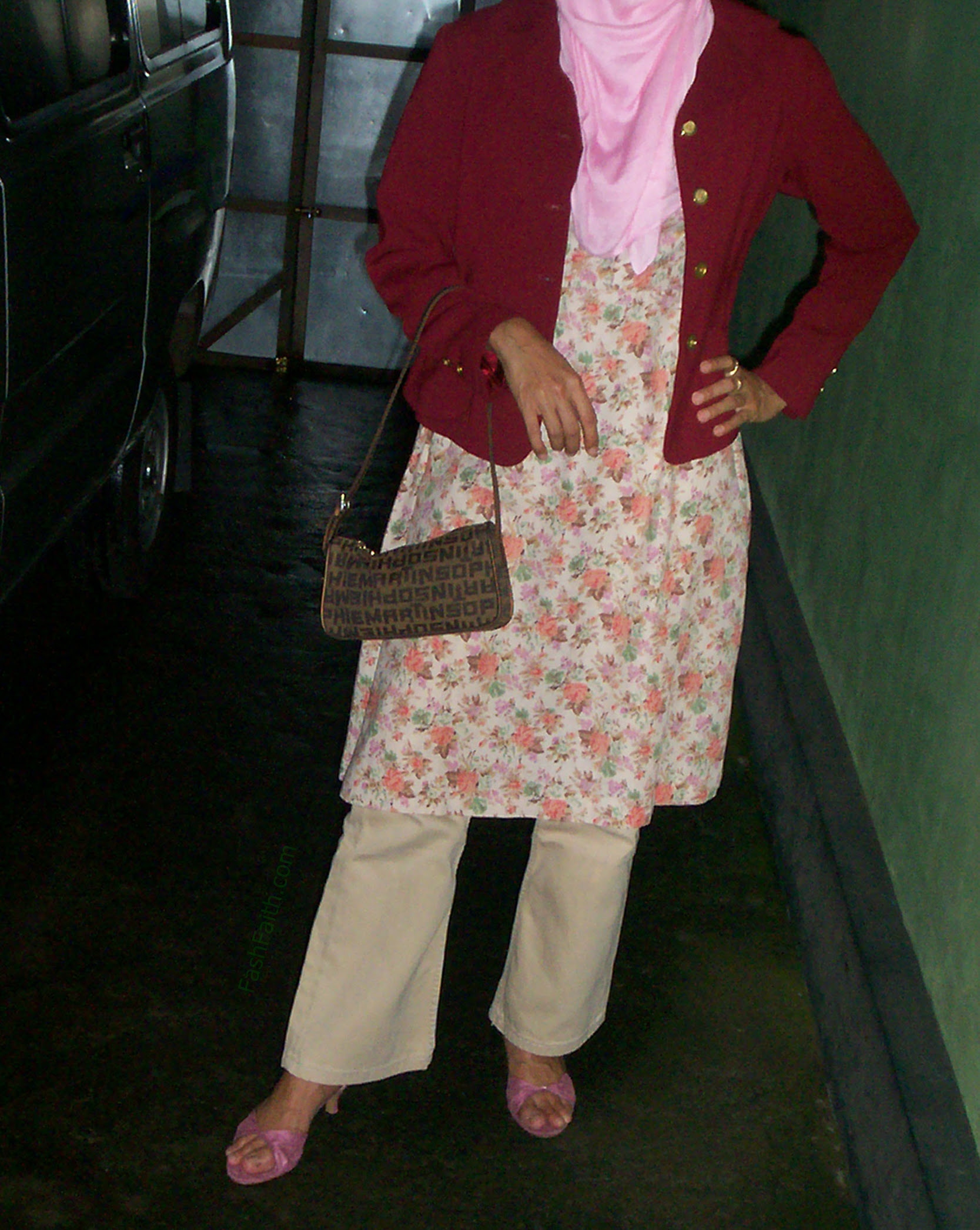 Get the look, Formal Attire, maroon blazer, working outfit, beige, neon pink, peach, hijab style, floral dress, retro dress