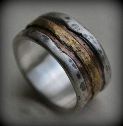 mens wedding band rustic fine silver copper  brass