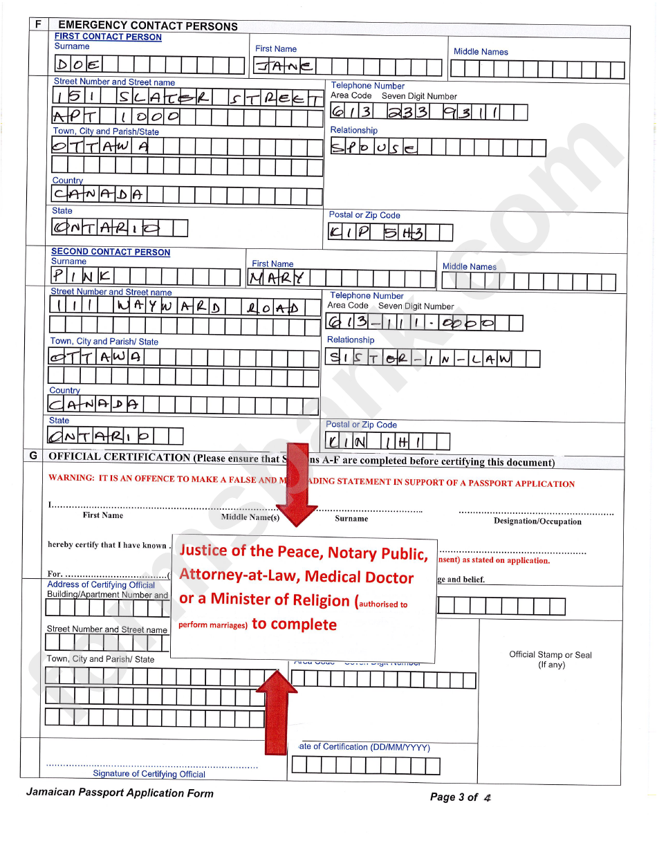 Sample Filled In Jamaican Passport Application Form Page