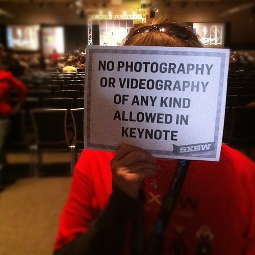 No photography or videography of any kind allowed in the keynote #BruceSpringsteen #sxsw