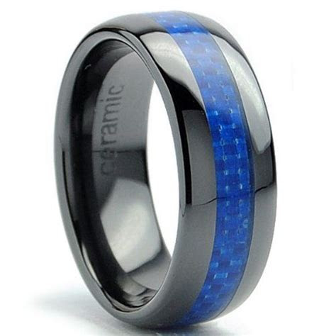 8MM Dome Men's Black Ceramic Ring Wedding Band With Blue
