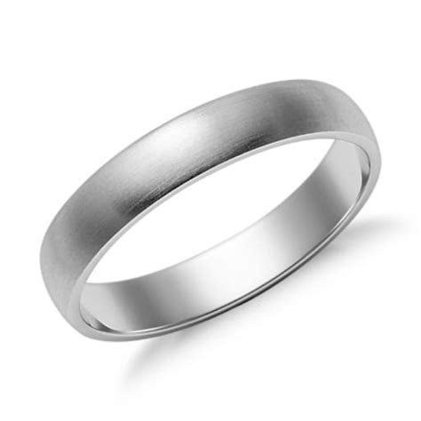 Matte Classic Wedding Ring in 14k White Gold (4mm)   Blue Nile
