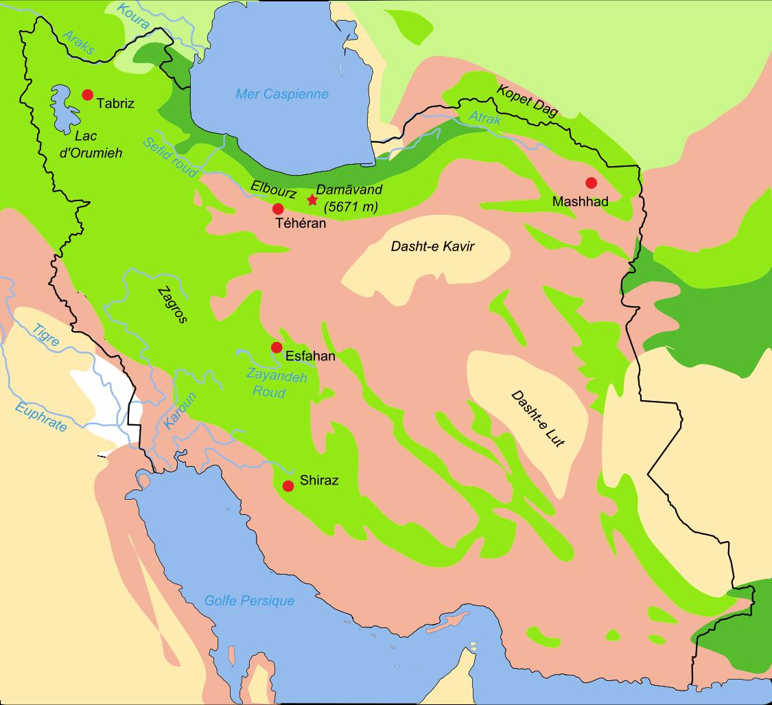Mapa de biotopos de Irán. Estepa del bosque Bosques y arbolados Semidesértico Tierras bajas del desierto Estepa Pantanos aluviales salados