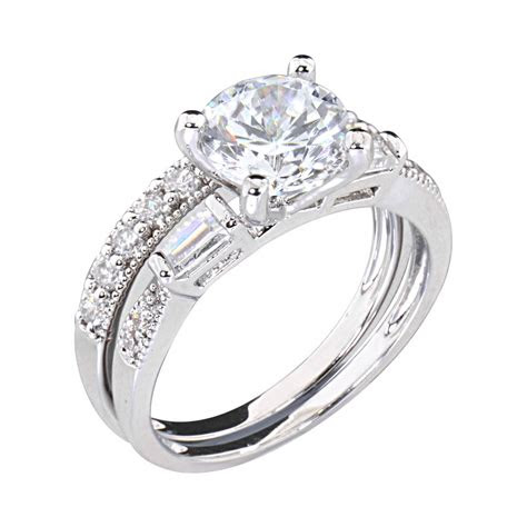 ct  cubic zirconia rhodium ep bridal engagement