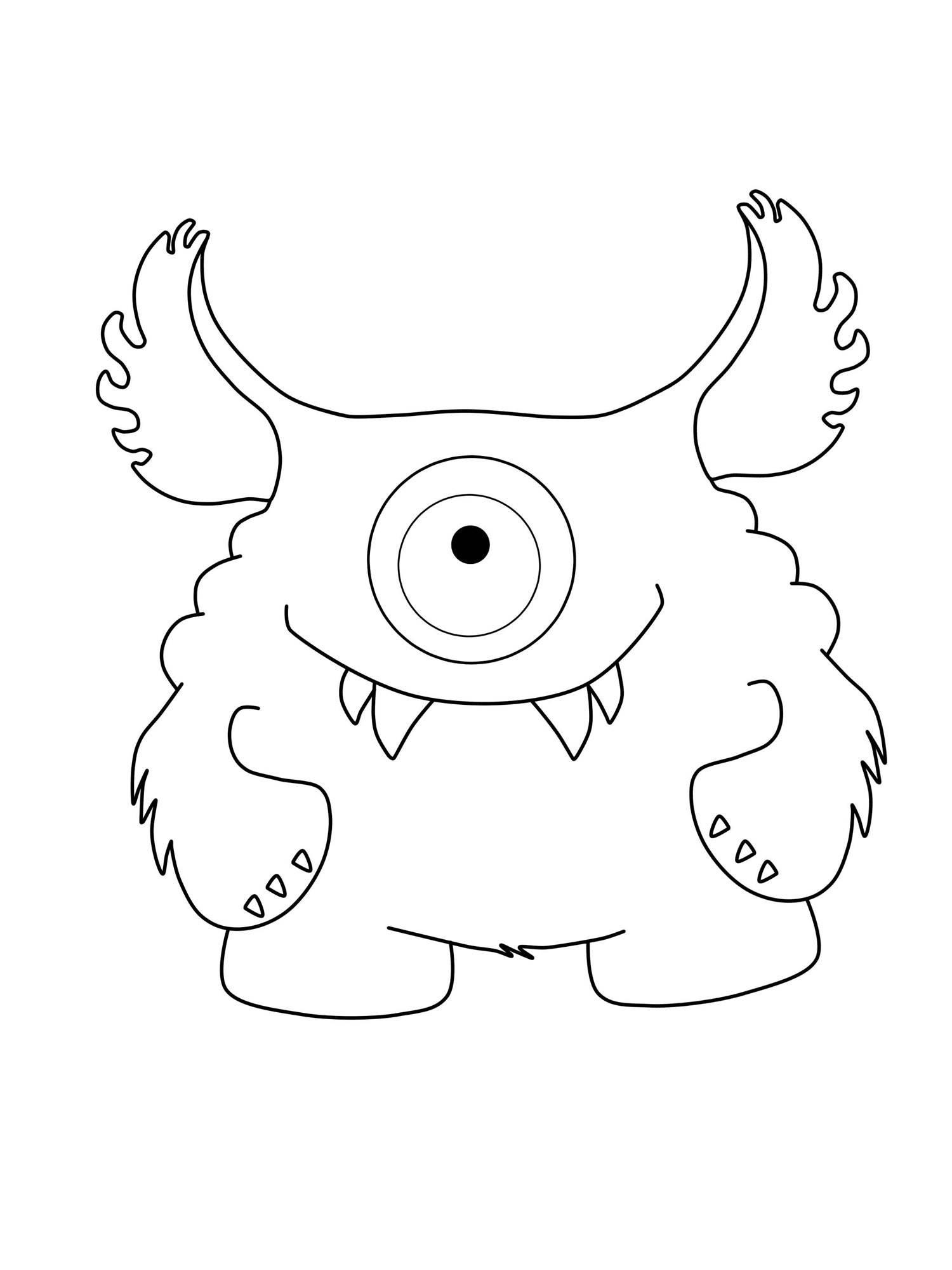 Ausmalbild Halloween Einäugiges Monster Mit Großen Ohrern Kostenlos Ausdrucken