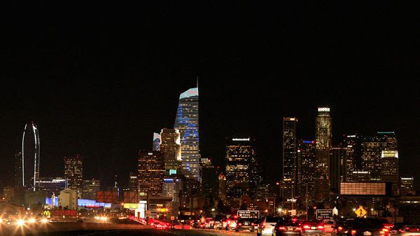 Another composite image showing the Wilshire Grand Center in downtown Los Angeles.