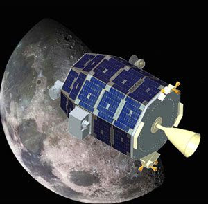 An art concept depicting NASA's LADEE spacecraft orbiting the Moon.